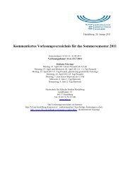 Kommentiertes Vorlesungsverzeichnis für das Sommersemester 2011