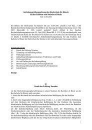 Aufnahmeprüfungsordnung Hochschule für Künste Fachbereich Musik
