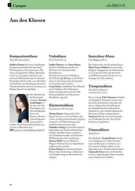 Sommersemester 2012 - Hochschule für Musik Saar - Saarland
