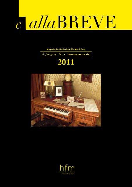 Sommersemester 2011 - Hochschule für Musik Saar - Saarland