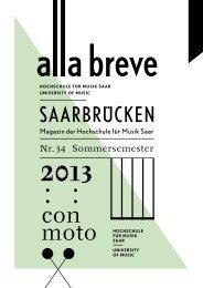 Sommersemester 2013 - Hochschule für Musik Saar - Saarland