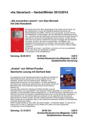 VHS Literarisch – Herbst/Winter 2010/2011
