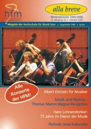 Wintersemester 2005/06 - Hochschule für Musik Saar - Saarland