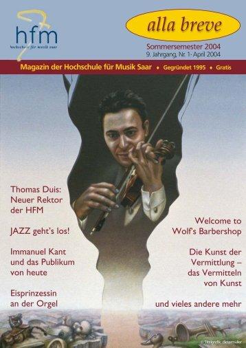 Sommersemester 2004 - Hochschule für Musik Saar - Saarland