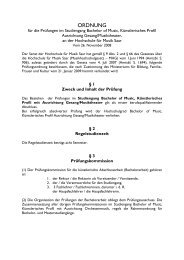 Studienordnung BoM Gesang - Hochschule für Musik Saar - Saarland