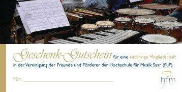 Muster des Geschenkgutscheins - Hochschule für Musik Saar