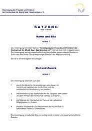 Satzung der FuF - Hochschule für Musik Saar