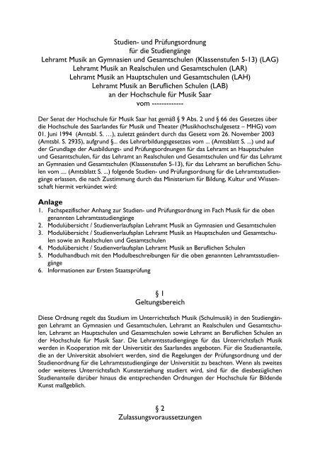 LAB - Hochschule für Musik Saar - Saarland