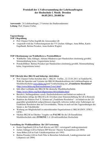 Protokoll der 1.Vollversammlung der Lehrbeauftragten der ...