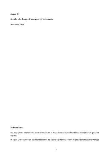 1 Anlage 2c) Modulbeschreibungen Schwerpunkt JRP Instrumental ...