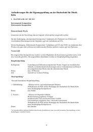 Eignungsprüfung Komposition - Hochschule für Musik und Tanz Köln