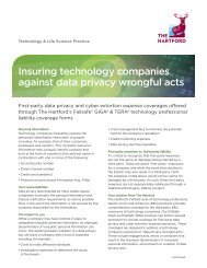 insuring technology companies against data privacy ... - The Hartford