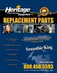 Smoothie King Common Replacement Parts For Store Level