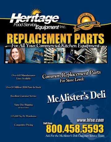 McAlister's Deli Common Replacement Parts For Store Level