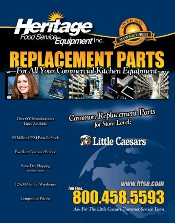 LITTLE CAESARS® Common Replacement Parts For Store Level