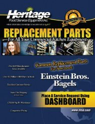 HERITAGE FOOD SERVICE EQUIPMENT INC. Replacement Parts ...