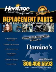 DOMINO'S Common Replacement Parts For Store Level