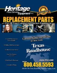 TEXAS ROADHOUSE Common Replacement Parts For Store Level
