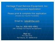 Employment Application - Heritage Food Service Equipment, Inc.