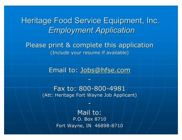 Employment Application - Heritage Food Service Equipment, Inc.