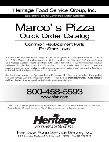 Marco' s Pizza - Heritage Food Service Equipment, Inc.