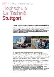 Projekt Kommunaler Umweltschutz erfolgreich gestartet - HFT Stuttgart