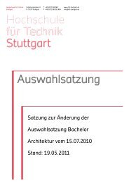 Änderung Auswahlsatzung, 19.05.2011 - HFT Stuttgart