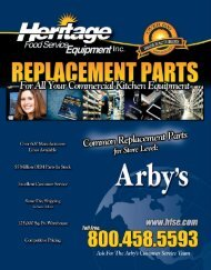 ARBY'S Common Replacement Parts For Store Level