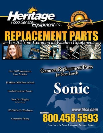 SONIC Common Replacement Parts For Store Level