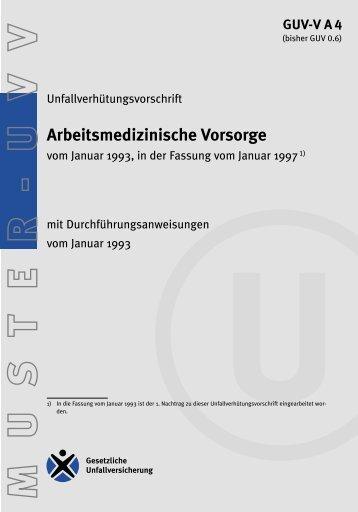 GUV-V A4 - Regelwerk des Bundesverbandes der Unfallkassen
