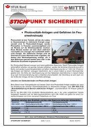 Photovoltaik-Anlagen und Gefahren im Feuerwehreinsatz