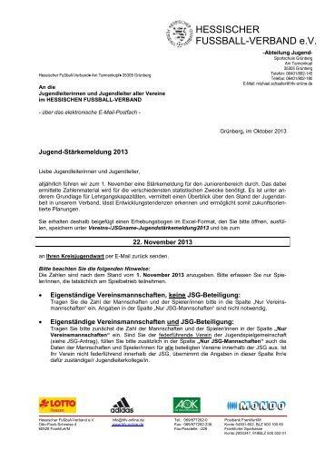 Anschreiben Jugendleiter - Hessischer Fußball Verband