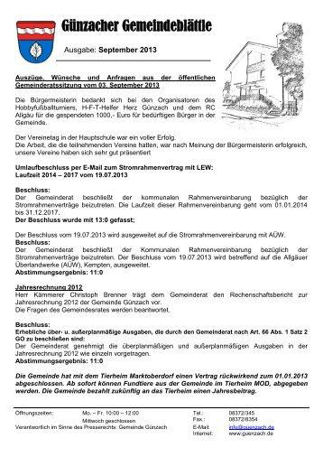 Ausgabe September 2013 - Günzach