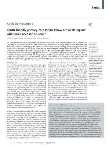 Series Adolescent Health 6 Youth-friendly ... - Teen Preg Redbridge