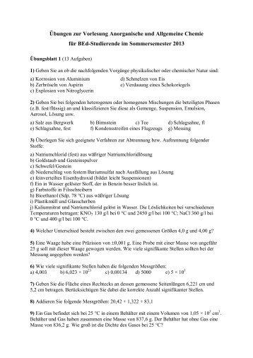 Übungen zur Vorlesung Anorganische und Allgemeine Chemie für ...