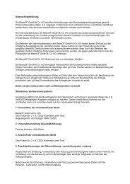 Datenschutzerklärung Die Blessof Gmbh & Co. KG wird den ...