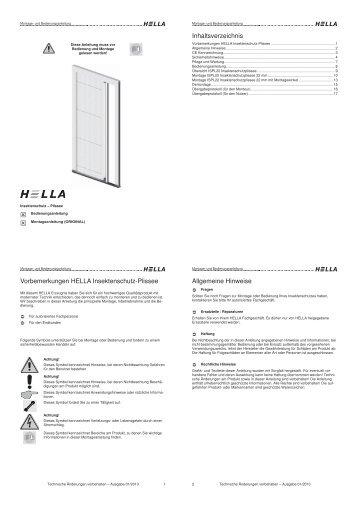 Inhaltsverzeichnis Vorbemerkungen HELLA Insektenschutz-Plissee ...