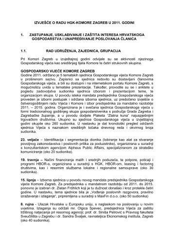 izvješće o radu hgk-komore zagreb u 2011. godini 1. zastupanje ...