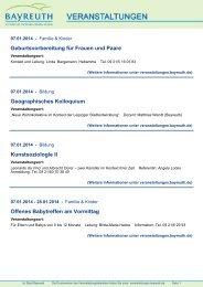 Veranstaltungsdaten von wwww.bayreuth.de - Stadt Bayreuth