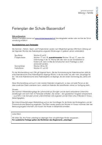 Ferienplan 2013 bis 2016 - Bassersdorf