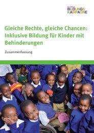 Gleiche Rechte, gleiche Chancen: Inklusive Bildung für Kinder mit ...