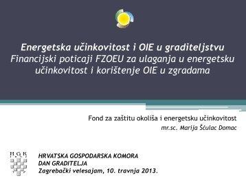 Energetska učinkovitost i OIE u graditeljstvu, Marija Šćulac Domac ...