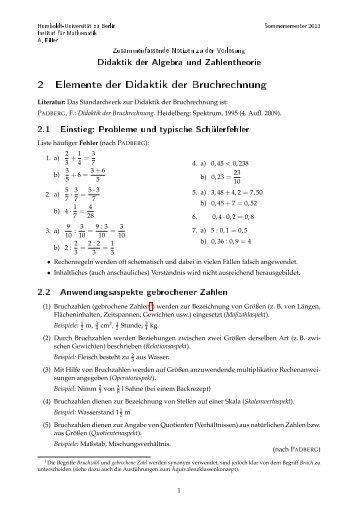 Gebrochene Zahlen: Didaktik der Bruchrechnung - Mathematik und ...