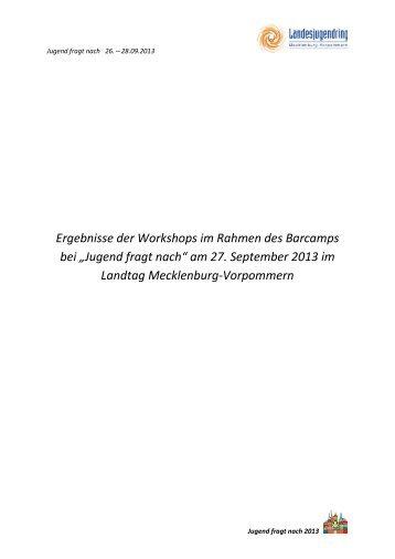 der Ergebnisse der Workshops im Barcamp am 27.09.2013