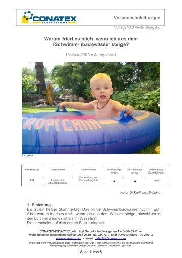 Verdunstung, Sek1 - Conatex-Didactic Lehrmittel GmbH