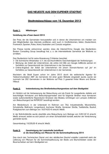 DAS NEUESTE AUS DEM EUPENER STADTRAT ... - Stadt Eupen