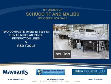schüco tf and malibu - Liquidation Auction - Equipment Auctions ...