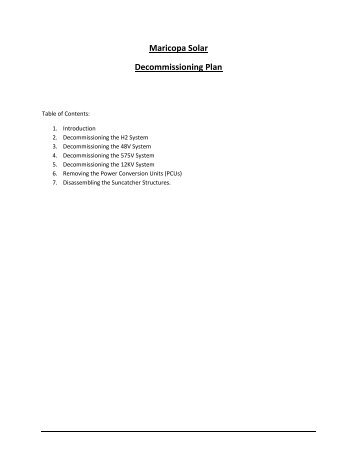 Maricopa Solar Decommissioning Plan - Liquidation Auction ...