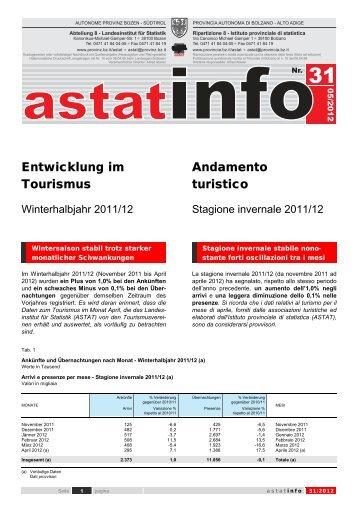 Entwicklung im Tourismus Andamento turistico - Rete Civica dell ...