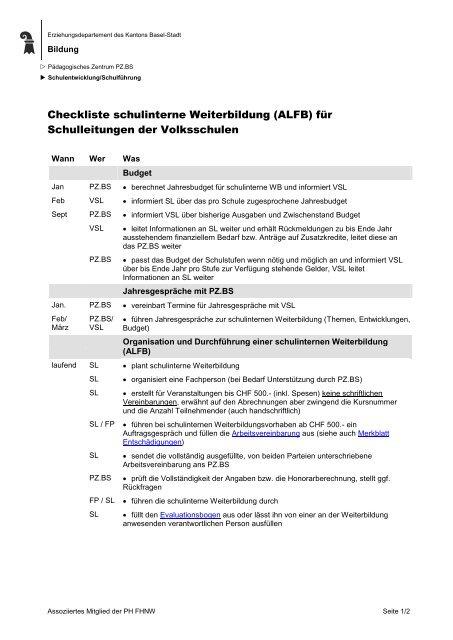 Checkliste schulinterne Weiterbildung (ALFB) für Schulleitungen der ...